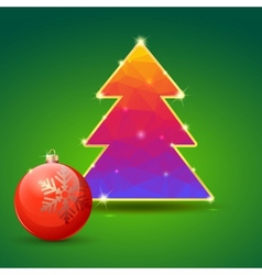 Christmas tree and ball on green background vector image