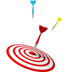 colorful darts hitting a target vector image