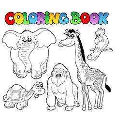 Coloring book tropical animals 2 vector