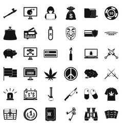 criminal offence icons set simple style vector image