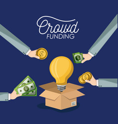 crowdfunding poster with cardboard box opened with vector image