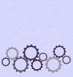 Different sizes color cog wheel gear engaging vector