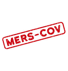 Distress mers-cov seal with rounded rectangle vector