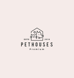 Dog cat pet house shop logo hipster retro vintage vector