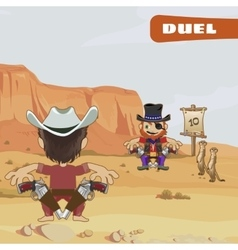 Duel between two guys characters of the wild West vector