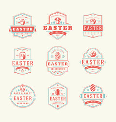 easter badges and labels design elements vector image