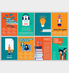 education brochure covers training and courses vector image