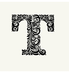 Elegant capital letter T in the style Baroque vector