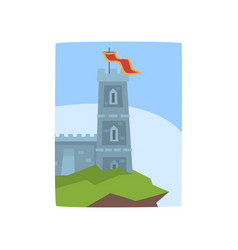 fantasy castle on edge of cliff medieval castle vector image