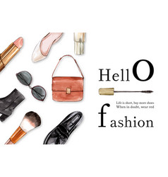 Fashion frame design with shoes bag cosmetic vector