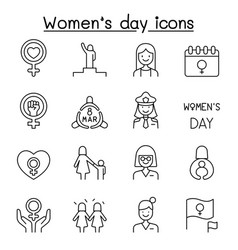 female woman feminist womens day icons set vector image