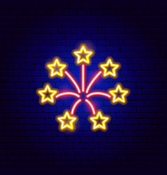 fireworks neon sign vector image