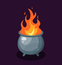 Flame inside a cauldron in flat style vector