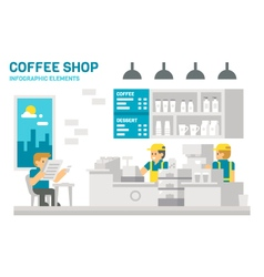 Flat design coffee shop infographic vector