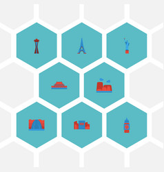 Flat icons america waterfall london and other vector