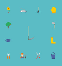 Flat icons latex cutter grower and other vector