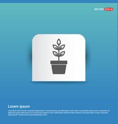 Flower pot icon - blue sticker button vector