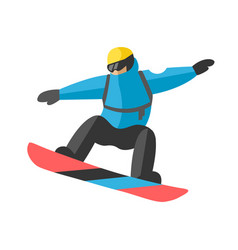 Freestyle snowboarder jumping mountain covered vector