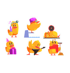 Funny yellow humanized chicken in various vector