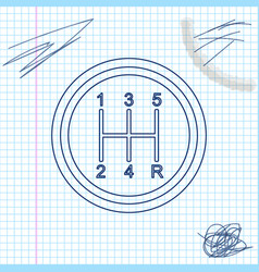 gear shifter line sketch icon isolated on white vector image