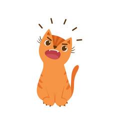 Ginger cat meowing loudly flat pet vector