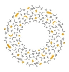 Gold and silver textured space round frame vector