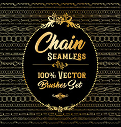golden chain seamless brushes pack on black vector image