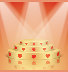 Golden scene with red hearts and lighting vector