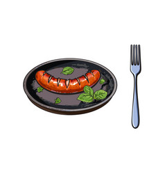 Grilled barbequed sausage served on frying pan vector