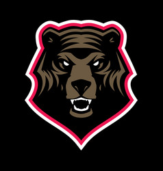 Grizzly bear head mascot vector