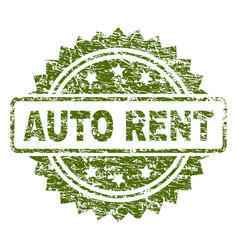 grunge textured auto rent stamp seal vector image