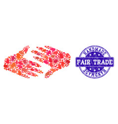 Handmade composition of fair trade handshake and vector