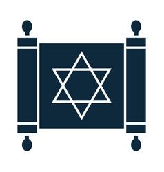 Hanukkah old torah scroll with star david vector