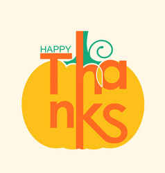 happy thanksgiving card with yellow pumpkin and vector image