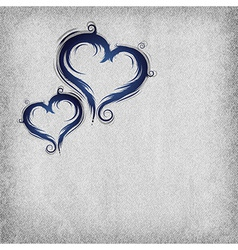 Heart baroque blue background vector