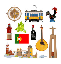 Historical symbols of portugal lissabon vector