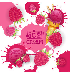 ice cream with raspberry taste dessert colorful vector image