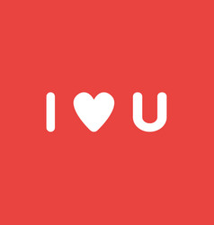 icon concept of i love you word with heart on red vector image
