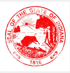 Indiana seal rubber stamp vector