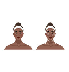 Instructions for face and neck massage face vector
