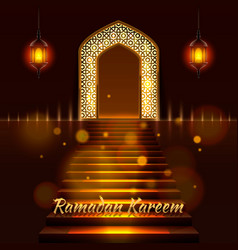 Islamic door mosque cover ramadan vector