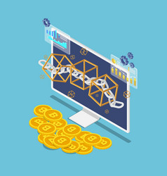 isometric blockchain symbol on monitor and bitcoin vector image