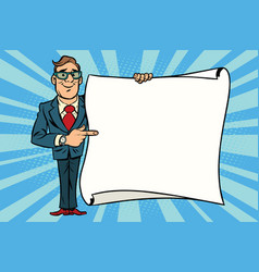 joyful businessman showing on the mockup copy vector image