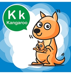 K Kangaroo color cartoon and alphabet for children vector