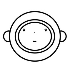 Line nice astronaut face with equipment to kawaii vector