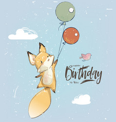 little fox with balloon vector image