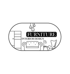Logo furniture lines style symbol and icon vector