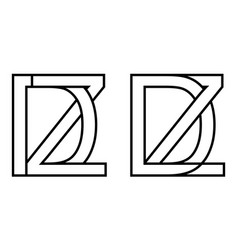 Logo zd and dz icon sign two interlaced letters z vector