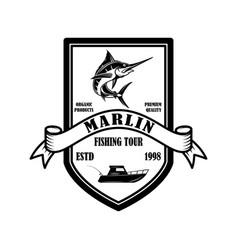 marlin fishing trip emblem template with marlin vector image