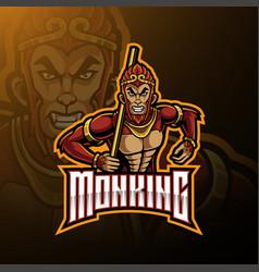Monkey king mascot logo design vector